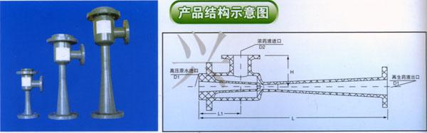 """WNP型喷射器(原WGP型,适用药液:盐酸、碱,选用D号材质则适用一切酸碱) 喷射器是热电、炼油、医药、环保等水处理系统中输送、稀释药液的小设备,具有设计合理、结构紧凑、操作方便、药液混合效果良好、使用寿命长等优点。 该WNP型喷射器有玻璃钢、不锈钢、碳钢、聚氯乙烯、聚四氟乙烯等材质制成,用户可根据本厂输送药液的腐蚀情况合理选用、或按户图纸制作。 调节农药液进口阀门及调节垫片""""的厚度;使出口药液达到所要的浓度。   注意:安装时切记注意喷射器法兰与连接铁法兰之间的平行度和垂直度。"""